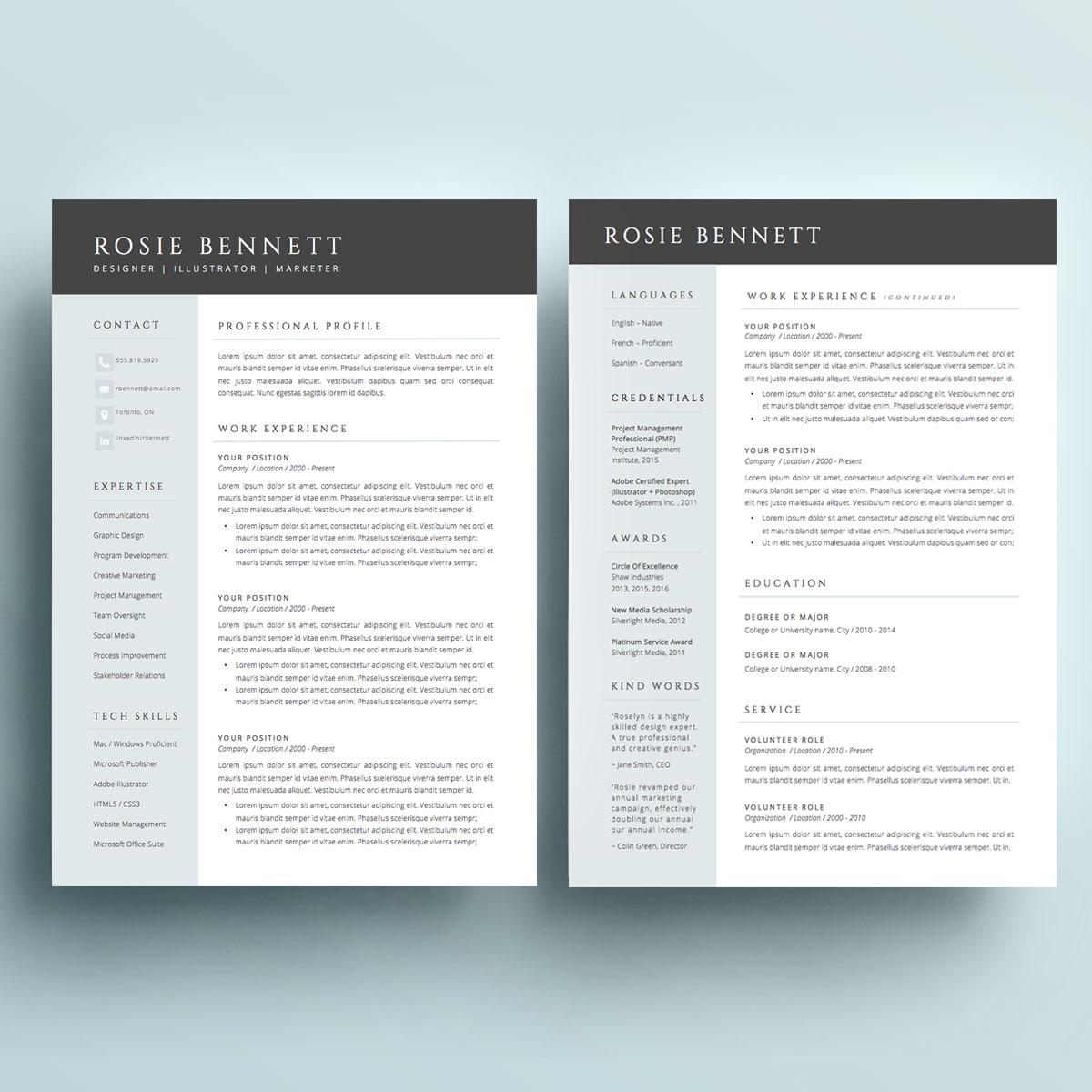 Modern and sophisticated Resume Package (dark header)