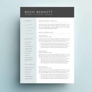 A modern and sophisticated 4-page resume template package for Microsoft Word