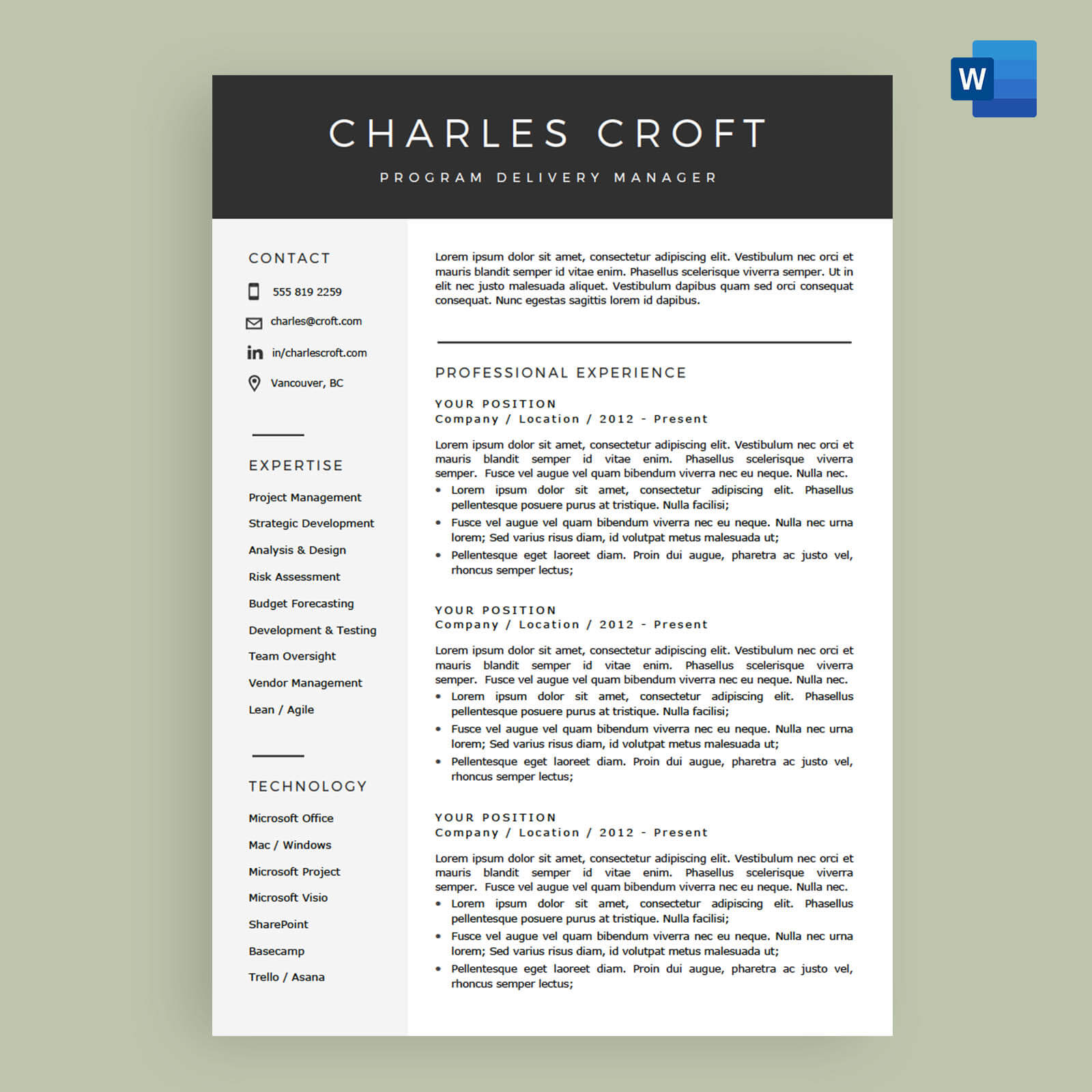 4 Page Resume CV Template Package For MicrosoftTM Word