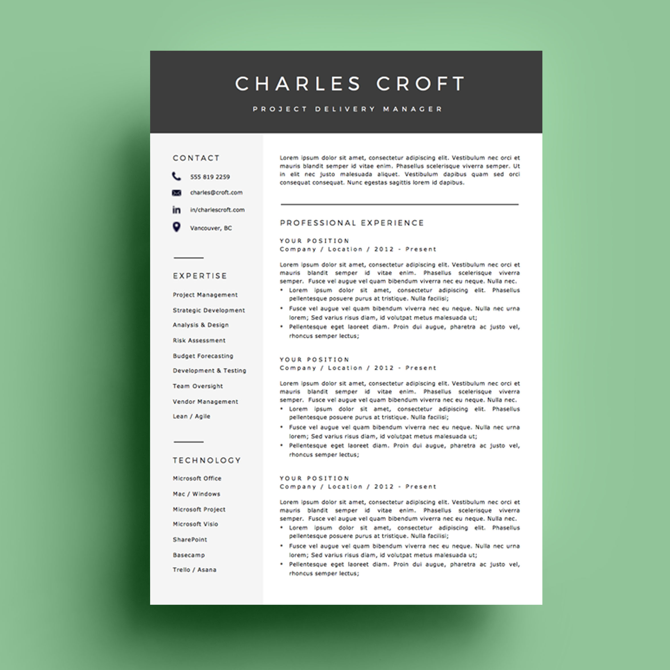 Page Resume Template  The Charlie  Impresumes  Resumes And