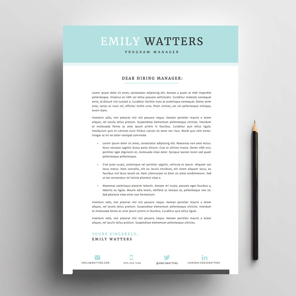 4 Page Resume / Cv And Cover Letter Template For Microsoft Word. The  U0027Oceanside