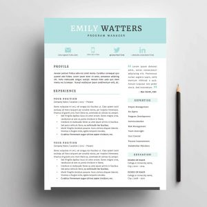 4 page resume / cv and cover letter template for Microsoft Word. The 'Oceanside' Resume Template Package From Impresumes