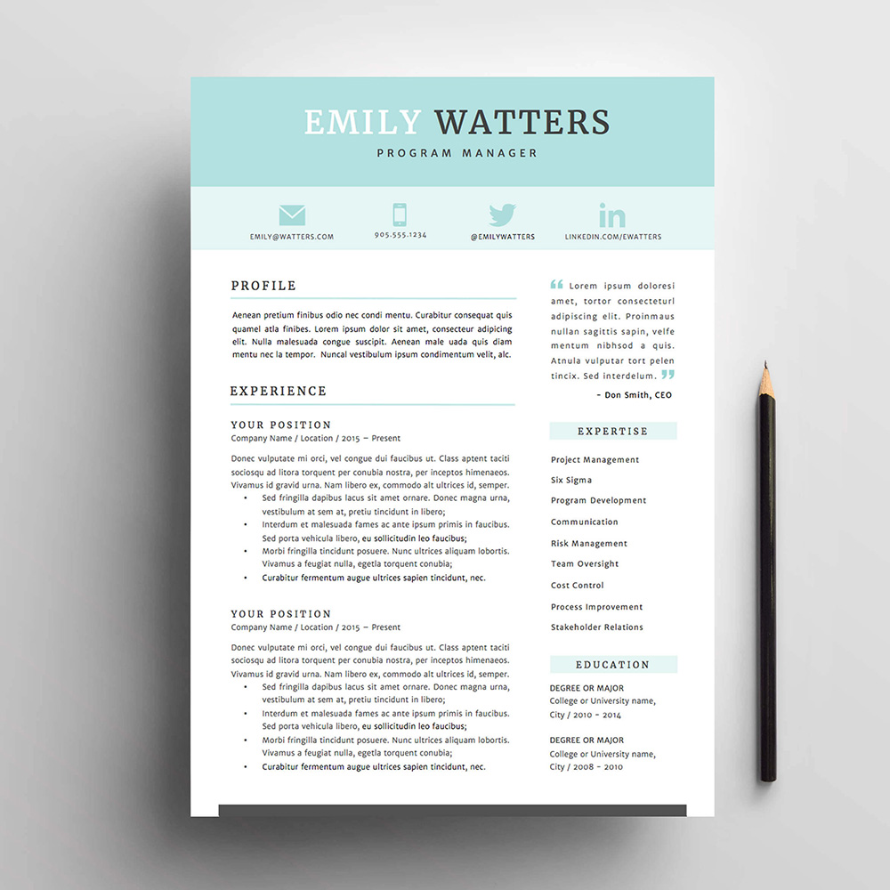 4 page resume cv and cover letter template for microsoft word the oceanside