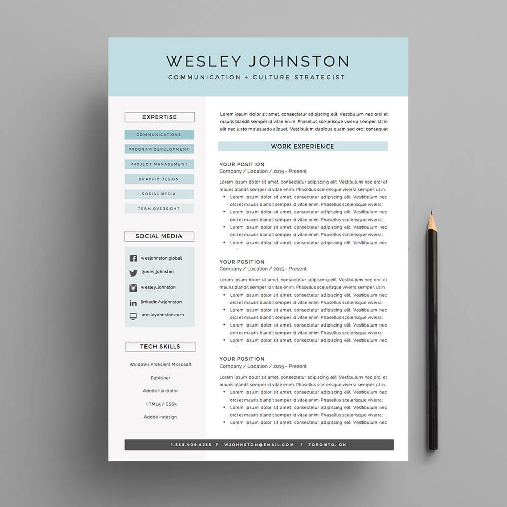 4 Page Resume And Cover Letter Template For Microsoft Word. The U0027Wesleyu0027  Resume  Cover Page For Resume Template