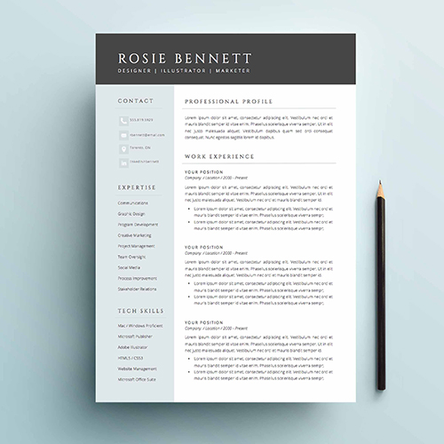 Elegant And Sophisticated, Each Template Package Includes A Two Page Résumé,  Cover Letter, References Page And An FAQ Package Complete With Free ...
