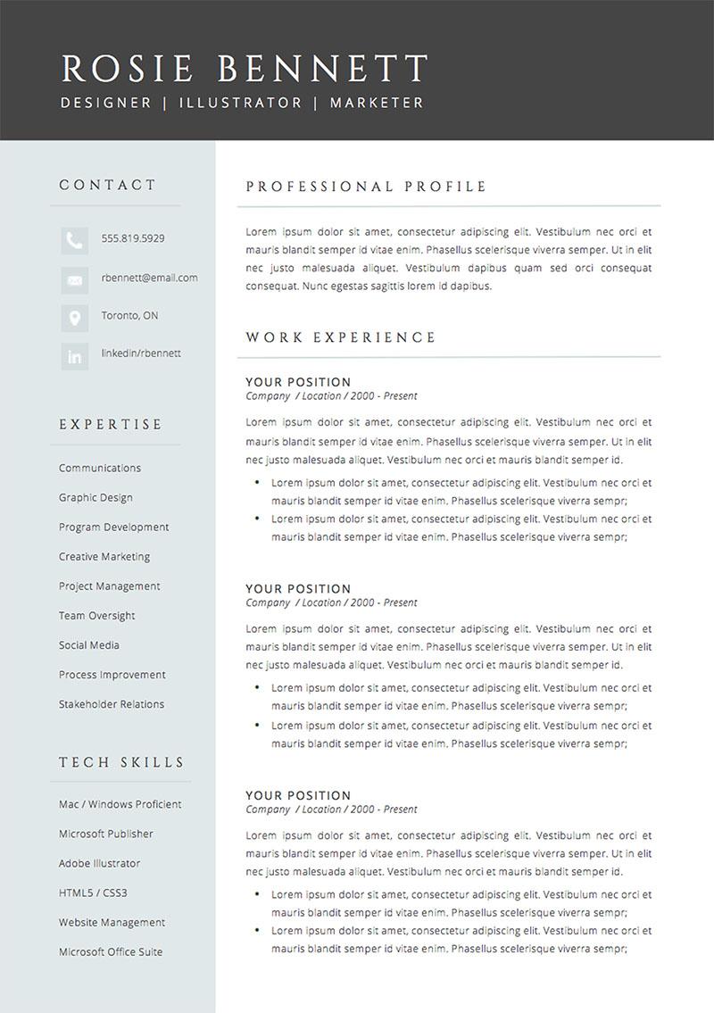 The 'Rosie' Resume Template Package From Impresumes