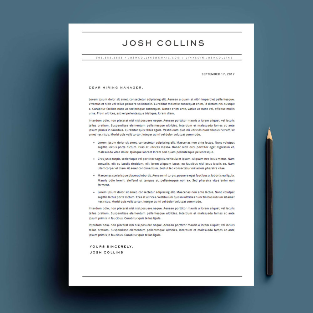 cover letter template for Microsoft Word.