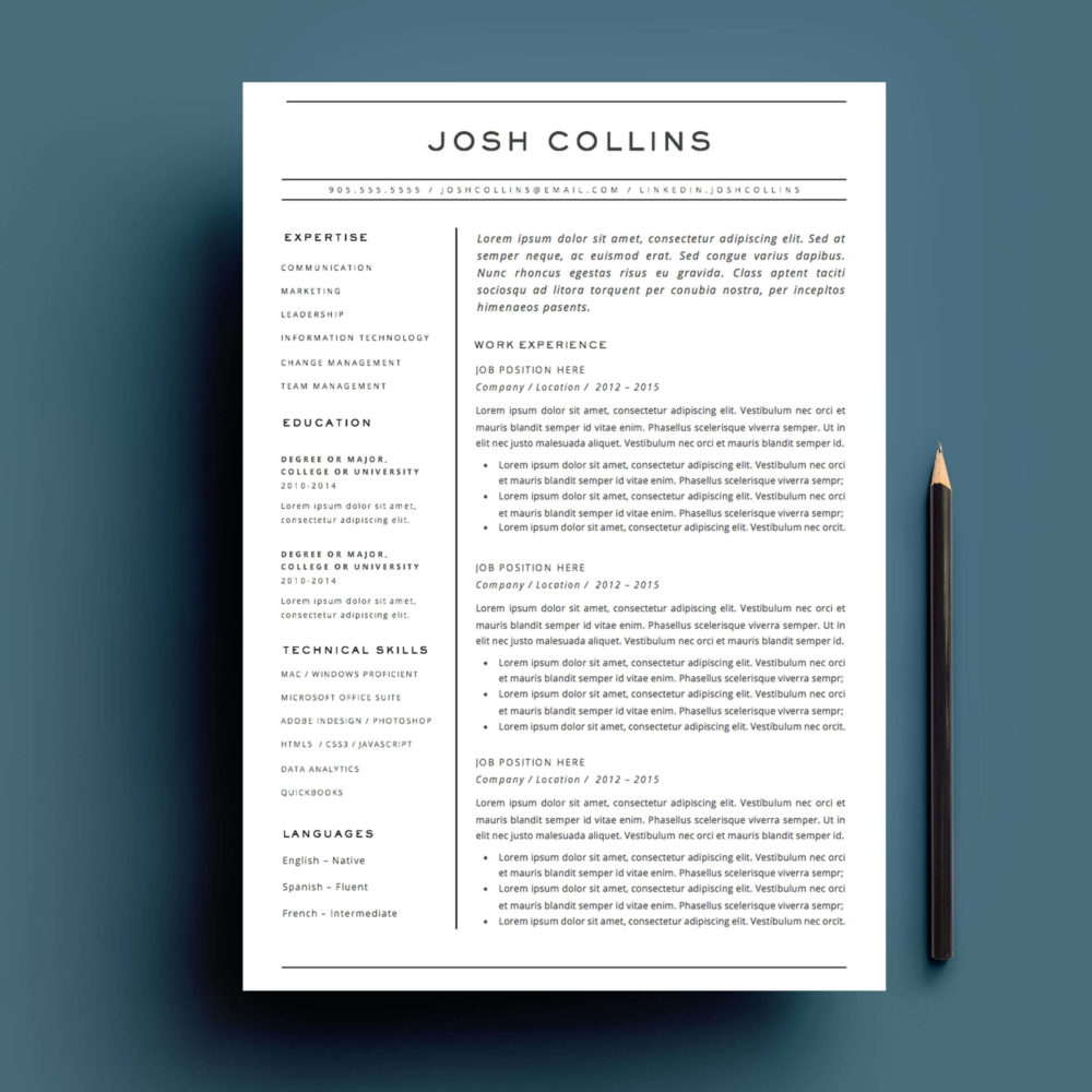 4 page resume and cover letter template for Microsoft Word.