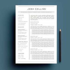 4 page resume and cover letter template for Microsoft Word. The 'Collins' Resume Template Package From Impresumes