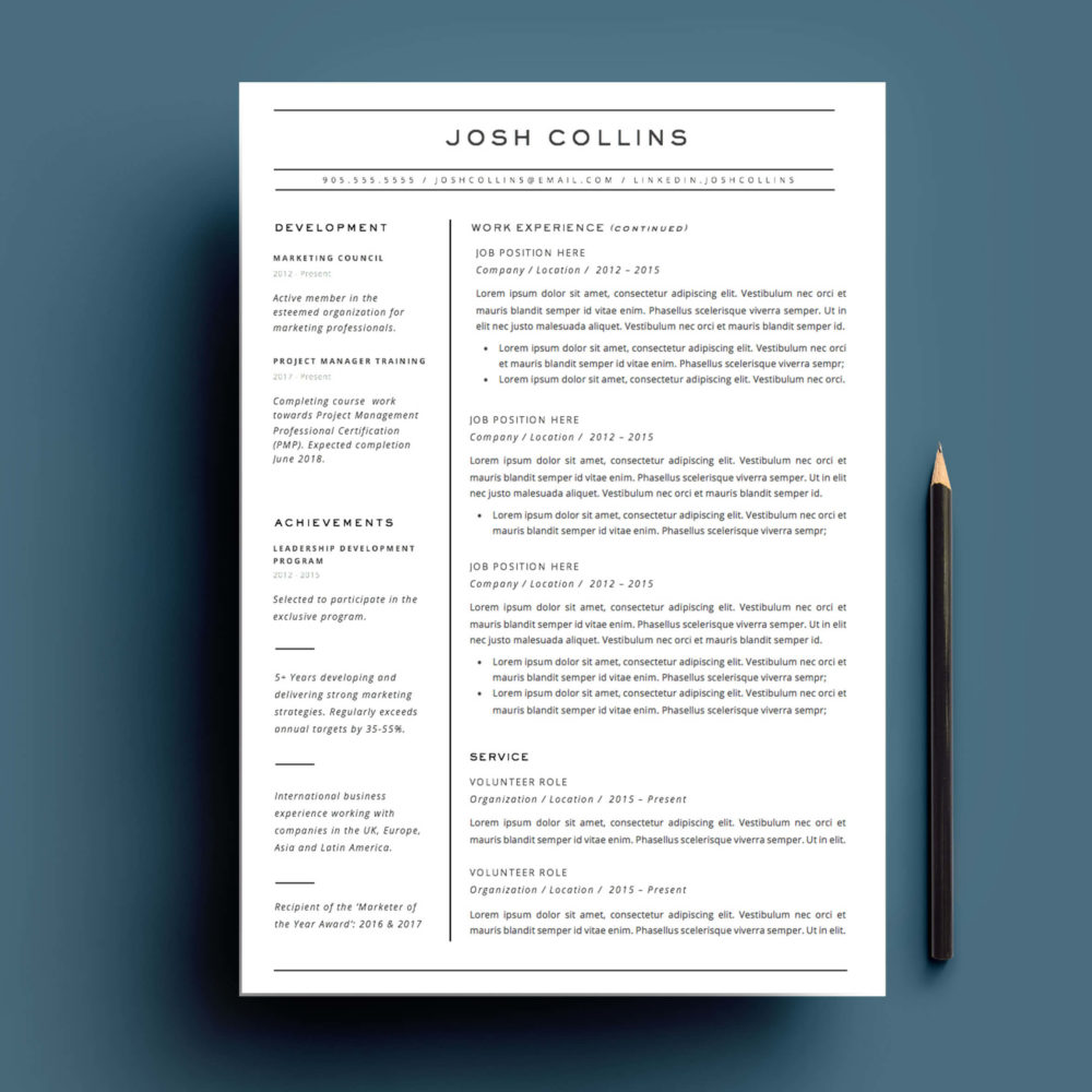 Résumé and cover letter template for Microsoft Word.
