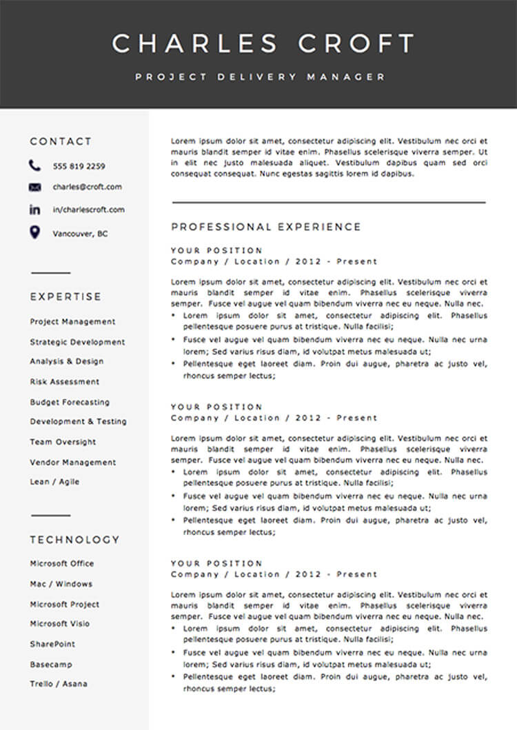 Resume template package for Word - the Charlie