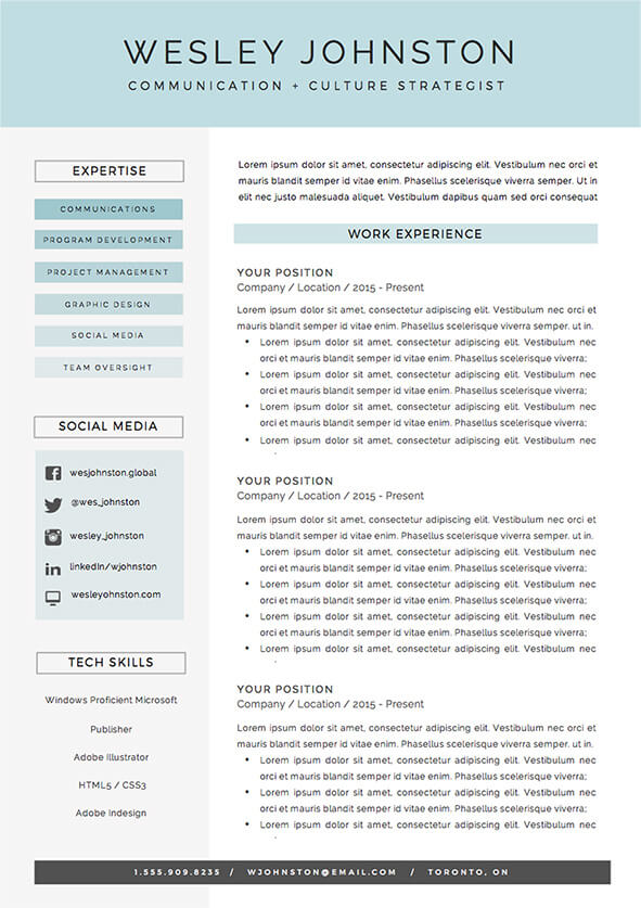 Easy to edit resume template package for Word - the 'Wesley'