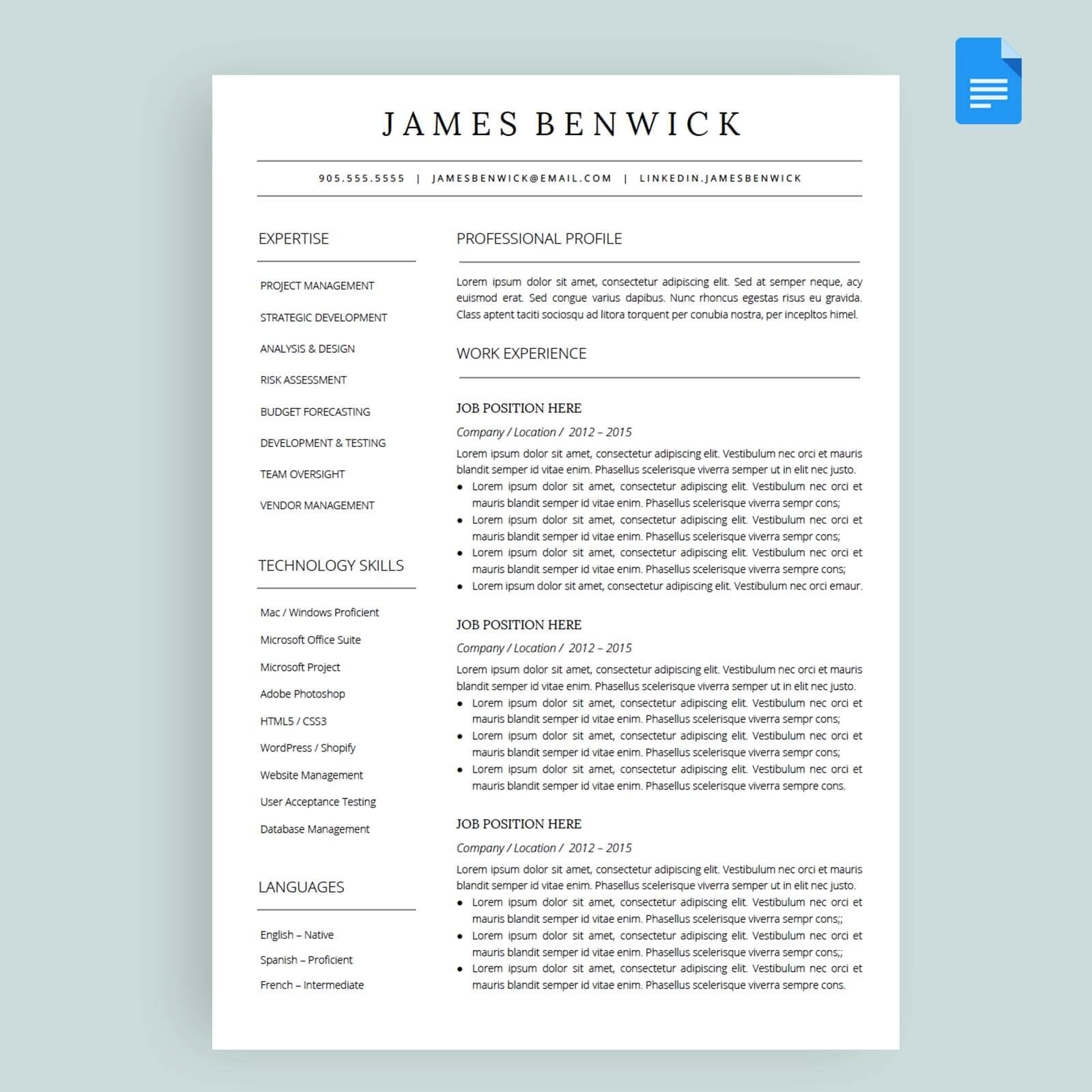 Benwick Resume Cv Template Package For Google Docs